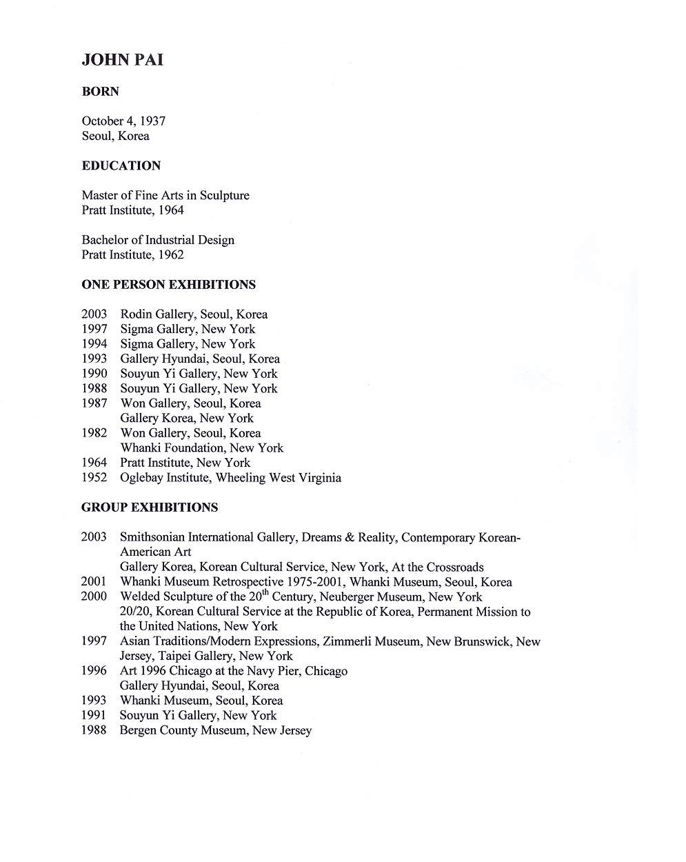 John Pai's Resume, pg 1